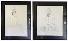 Bernard Fuchs (American, 1932-2009), Two Charcoal Sketches, Steffi Graf and Andre Agassi