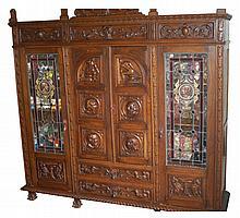 Renaissance Revival Style Carved Oak Study Suite