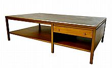 American Mid-Century Leather-Top Coffee Table