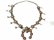 Native American Navajo Coral Squash Blossom Necklace