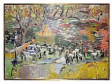 Jehudith Sobel, Abstract Cafe in the Park Scene