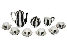 Austrian Porcelain Mocha Coffee Service, Designed by Josef Hoffmann, Vienna, Early 20th Century