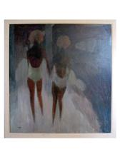 William Lee Cumming (American 1917-2010), Two Women Walking, oil on Masonite, signed and dated 1964