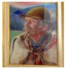 Stanislaw Gorski (Polish, 1887-1955), Portrait of a Peasant, pastel, circa 1950