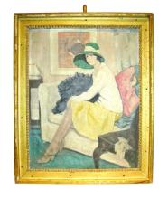 George Telfer Bear (British, 1874-1973), Woman in a Green Hat Sitting on a Sofa, oil on canvas, signed