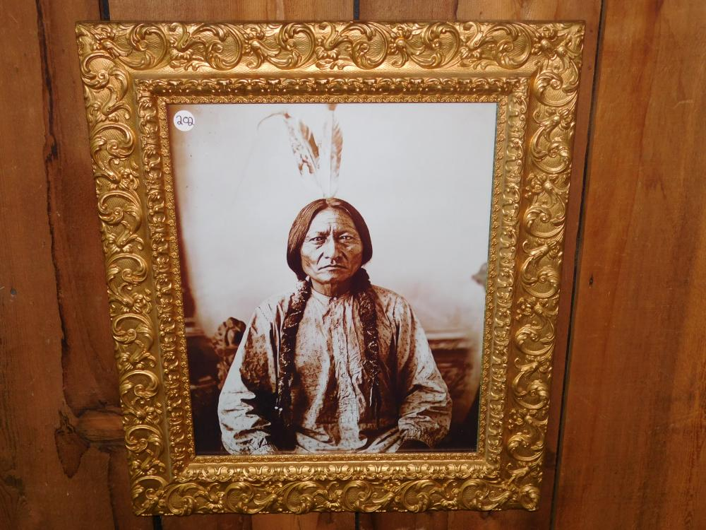 ANTIQUE FRAME W/INDIAN PICTURE