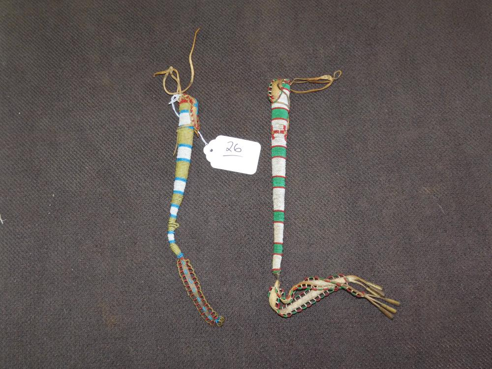 2 BEADED AWL POUCHES