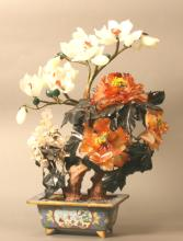 A Chinese Jade, Agate, Crystal and Hardstone Ornamental Tree. Circa 1900.With Cloisonne base. 44cm high.