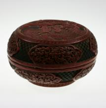 A Chinese Cinnabar lacquer Bowl and Cover. Circa 1900. Carved throughout with figures in a landscape. Sone losses to inside. 9.5cm high. 16.5cm diameter.