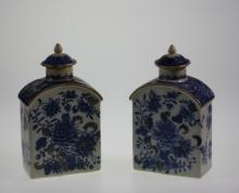 A Pair of Chinese Blue and White Tea Cannisters and covers.