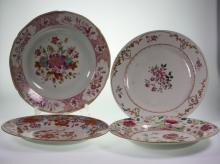 Four Chinese Export Plates. 18th century. Decorated with flowers Storks and Deer. Each 23cm diameter. Some minor chips. (4)