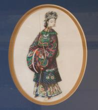 Two Chinese Rice Paper Watercolour Portraits. 19th century. Each depicting a maiden with European face wearing traditional Chinese dress. Each 18cm x 11cm. One cracked. In a modern giltwood frame. (2)