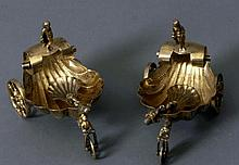 A Pair of Continental Silver Gilt salt cellars and