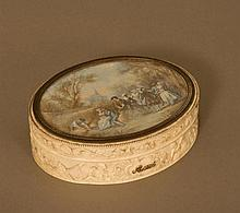 A Fine French Ivory Oval box. Late 18th