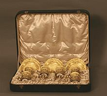 A Royal Worcester and Silver Gilt Mounted Cabaret