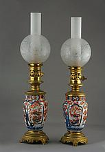 A Near Matching Pair of Japanese Imari Lamps. Now