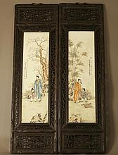 A Set of Four Japanese Panels. Meiji period. In
