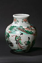 A Chinese Cantonese Famille Verte Vase. Of heavy