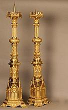 A Fine Pair of Pugin Style Gilt Brass Pricket