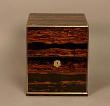 A Fine Calamander Wood Decanter Box. Late 19th