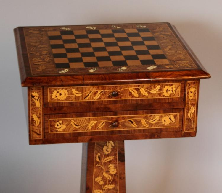 Rosewood and fruitwood inlaid games table for Furniture auctions london