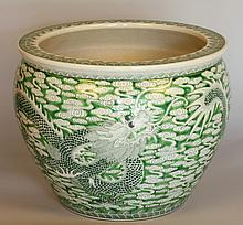 A Chinese Carp Bowl. Younzou Circa 1880. Decorated in green with a dragon