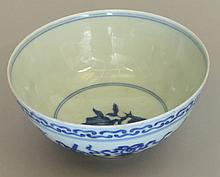 A Chinese Blue and White Bowl. 19th century. Decorated with fruit