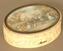 A Fine  French Ivory Oval Jewellery box. Late 18th century