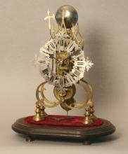 A Good Victorian Gilt Brass Skeleton Clock