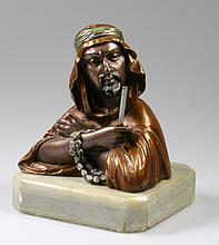ALPHONSE GIROUX, An Austrian Cold Painted Bust of An Arab. On grey marble base. Signed/ 13cm high. Good condition.