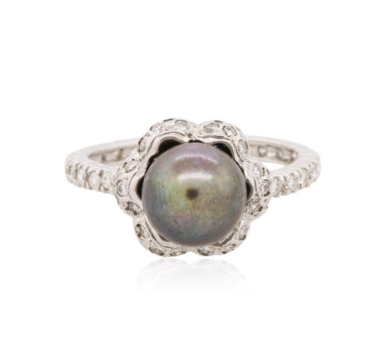 14kt white gold pearl and ring