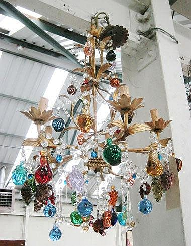CHANDELIER, Murano style, with multicoloured glass