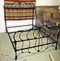 DOUBLE BED, Victorian style black painted cast
