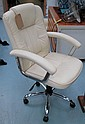 OFFICE CHAIR, in cream faux leather on swivel
