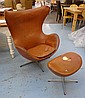 EGG CHAIR AND STOOL BY ARNE JACOBSEN, with tan