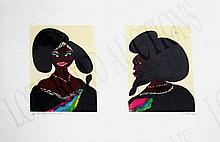 CHRIS OFILI (British, b. 1968), 'Afro Harlem Muses', 2005, lithograph in colours, numbered 32/60, 61.5cm x 77.5cm, signed, titled, dated lower margin and framed. (Please Note Clause 6 of Buyer's Conditions)