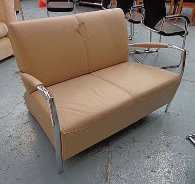 EAMES STYLE SOFA, two seater, leather, on chrome