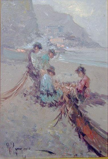 ANTONIO PECORARO (b.1938), 'Figures on a beach',