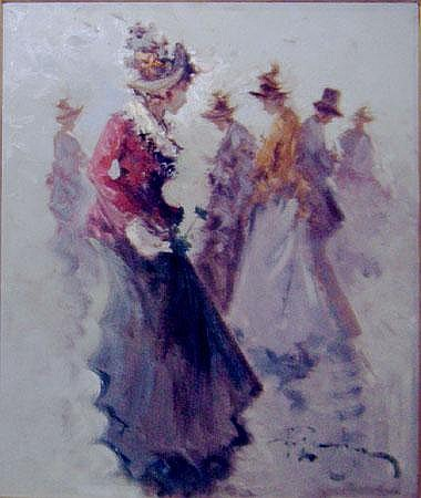 ANTONIO PECORARO (b.1938), 'Figures', oil on