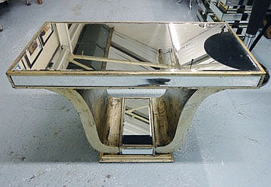 MIRRORED LOW TABLE, Venetian style on silvered
