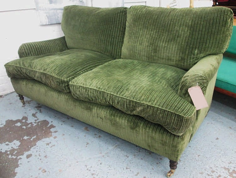GEORGE SMITH SOFA, Two Seater, With Green Striped Upholstery On Short Turne