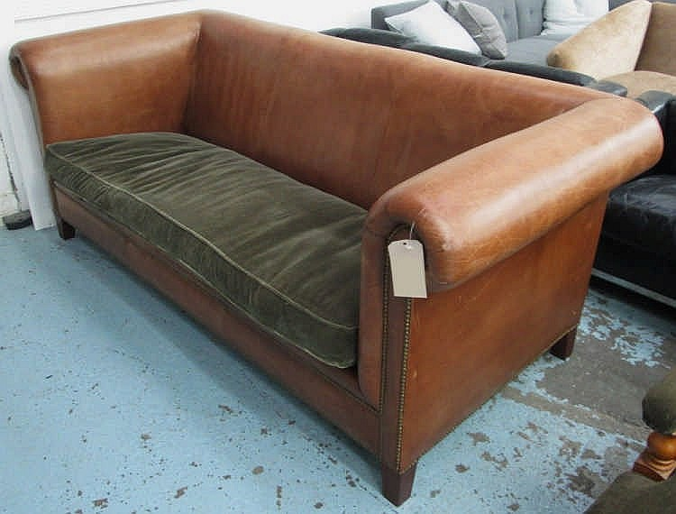 RALPH LAUREN SOFA, High Arms And Back In Brown Leather With Studded Arms An