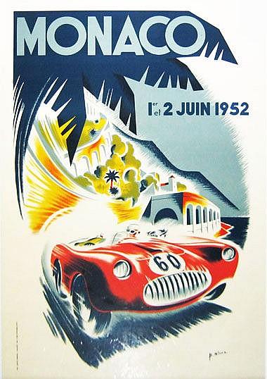 AFTER GEORGE HAM, 'Monaco 1952' lithograph, 98.5cm