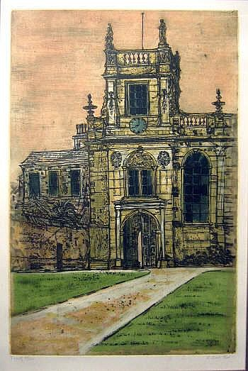 RICHARD BEER (b.1928), 'Trinity College', etching