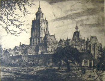 JAN POORTENAAR (1886-1958), 'View across cottage