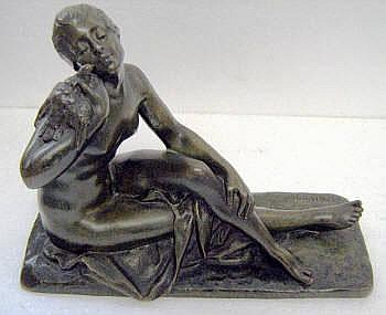 SUZANNE BIZARD (1873-1963), green patinated bronze