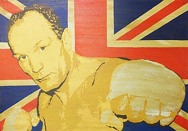 RAY SUTTON, 'Henry Cooper' acrylic on canvas, 70cm
