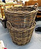 WOODEN BASKETS, two, with handles, 74cm Diam x