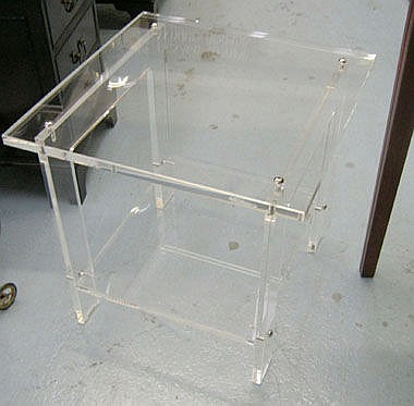 SIDE TABLE, quality perspex with shelf below, 56cm
