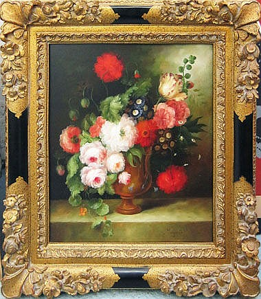 MARGARIET, 'Still life with flowers', oil on
